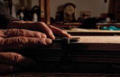 Working on a shagreen leather piece. // Travail sur un pièce de cuir galuchat. More about our workshop on // Plus à propos de nos ateliers sur : http://www.galerie-galuchat.com/l-atelier