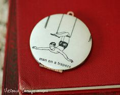 Trapeze Locket Necklace, Vintage Dictionary Illustration, Circus, Acrobat $39