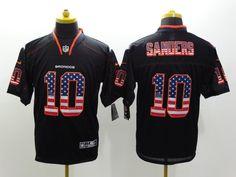 Men's Nike NFL Denver Broncos #10 Emmanuel Sanders Black USA Flag Fashion Elite Jerseys