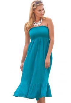 Smocked Gauze Dress/Skirt Coverup by Full Beauty on CurvyMarket.com Plus Size