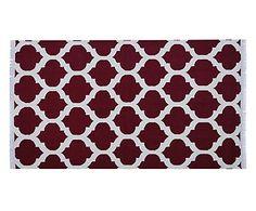 Tapete Indiano Goa Cinza e Vermelho - 100x140cm