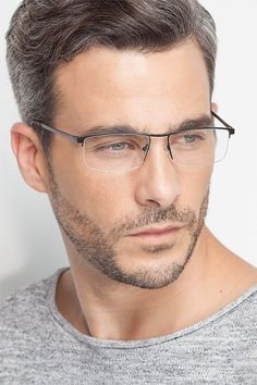Lake Black Titanium Eyeglasses from EyeBuyDirect. This frame is a great addition to any collection. Half Frame Glasses, Mens Glasses Frames, Mens Hairstyles With Beard, Face Shape Hairstyles, Mode Masculine, Clear Glasses Fashion, Bearded Dragon Habitat, Older Mens Fashion, Hot Guys Tattoos