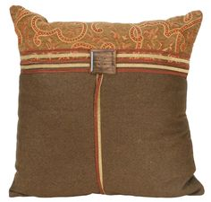 18 Inch Square Terracotta Button Throw Decorative Pillow