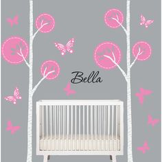 Birch Tree Decal Grey Pink Nursery Tree Wall Decal Baby Modern Kids... ($70) ❤ liked on Polyvore featuring home, children's room, children's decor, home & living, home décor, silver, wall decals & murals and wall décor
