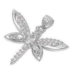 Silver Dragonfly Pendant w/ CZ