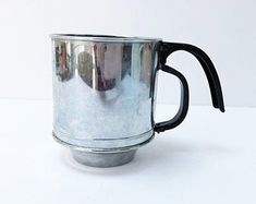 Vintage Flour Sifter Pull Handle Hand Held One Cup Sifter Cooking Utensil for Small Kitchens Fenton Glass, Art Deco Design, Cooking Utensils, Or Antique, Vintage Kitchen, Boho Decor, I Shop, Hold On, Handle