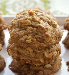 Plenty of oats, brown sugar, and cinnamon, along with toffee bits and toasted almonds, make these Toffee-Almond Oatmeal Cookies a favorite! - Bake or Break Cookie Desserts, Cookie Bars, Fun Desserts, Cookie Recipes, Awesome Desserts, Oatmeal Cookies, No Bake Cookies, Cookies Et Biscuits, Oatmeal Cake