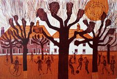 """Pollarded Trees and Playground"" by Robert Tavener, 1972 (linocut) Scratchboard, Happy Colors, Block Prints, Art Prints, Woodblock Print, Printmaking, Print Patterns, Art Drawings, Moose Art"
