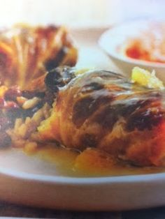 Easy crockpot recipes: Tropical Stuffed Cabbage Rolls Crockpot Recipe