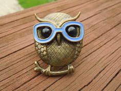 Vintage Owl Ring  Flexible Band Copper or by Angieswonderfulgems, $10.00