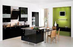 4 mẫu tủ bếp Acrylic phối màu đen sáng bóng