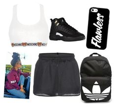 """playing basketball"" by babykayslays ❤ liked on Polyvore featuring Moschino, NIKE and adidas"
