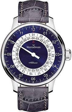 Meistersinger Adhesio Einzeigeruhr mit weiß-blauem Blatt - https://herrenuhren24.net/armbanduhr/meistersinger-adhaesio-einzeiger-ad908-automatikuhr/ #meistersinger #uhren #automatik
