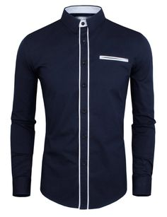 935920cdf Slimming Color Block Button Fly Fake Pocket Turn-down Collar Long Sleeves  Shirt For Men