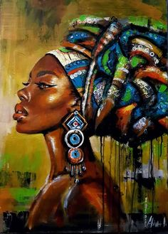 African Artwork, African Art Paintings, Black Art Painting, Woman Painting, Black Girl Art, Black Women Art, Afrique Art, Art Africain, African American Art