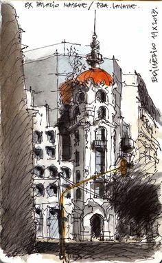 #Croquiseros. #Buenos Aires, #Massue, #Tribunales,