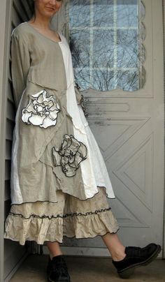 Natural Linen Wavy Flower Tunic Dress M by sarahclemensclothing, $149.00