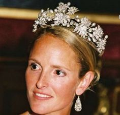 Duchess Marie Caroline of Bavaria, wife of the duke of Württemberg, wearing a tiara of diamonds and pearls.