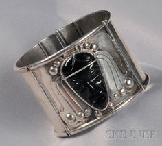 Mexican Silver and Carved Obsidian Cuff, Fred Davis