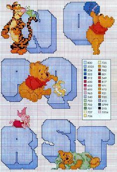 alfabeto winnie the pooh 3 Cross Stitch Fairy, Cross Stitch For Kids, Cross Stitch Alphabet, Cross Stitch Samplers, Cross Stitch Charts, Cross Stitch Designs, Cross Stitching, Cross Stitch Embroidery, Cross Stitch Patterns