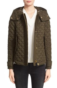 Burberry Brit 'Leightonbury' Quilted Hooded Jacket available at #Nordstrom