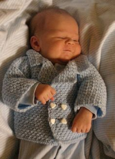 DAVID PEACOAT david peacoat free baby sweater crochet pattern  The name David means 'beloved,' and what could be more appropriate for a sweet new baby? If you've been seeking something new and different for a newborn boy, you'll be sure to love the interesting stitch texture and peacoat styling of this little sweater.