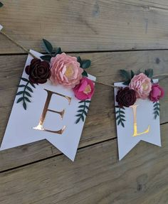 Personalized floral name banner with paper flowers and rose gold lettering, Shabby chic baby and bridal shower decoration 3d Paper Flowers, Paper Flower Garlands, Shabby Chic Baby, Floral Banners, Name Banners, Bridal Shower Decorations, Party Themes, Party Ideas, Gift Ideas