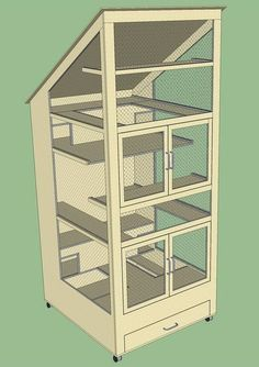 Wooden chinchilla cage design - I love the sloping roof and the drawer at the bottom for storing chinchilla supplies.