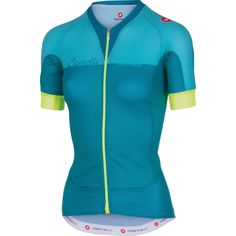 Castelli Aero Race Full-Zip Jersey - Short Sleeve - Women'sCaribbean/Pastel Blue/Yellow Fluo