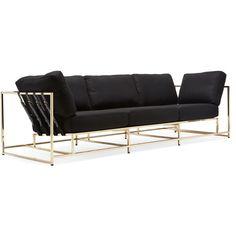 Stephen Kenn Inheritance Sofa - Black Wool & Brass ($6,900) ❤ liked on Polyvore featuring home, furniture, sofas, sofa, black couch, onyx furniture, brass furniture, black furniture and black sofa