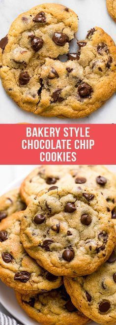 Ultra thick Bakery Style Chocolate Chip Cookies feature golden brown edges with ooey and gooey centers. This easy recipe can be made in 30 minutes! #chocolatechipcookies #cookie #cookierecipes #recipe #dessert #dessertrecipes #food #chocolate #chocolatechip #chocolatelovers