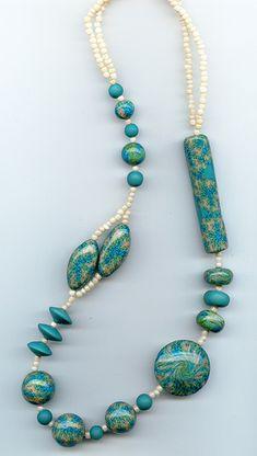Polymer Clay Necklace, Turquoise Kaleidoscope Cane