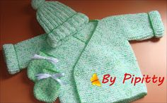 by Pipitty: Casaquinho, gorro e luva para bebê