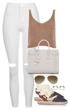 """""""Untitled #2026"""" by h4nnahlouise ❤ liked on Polyvore featuring Topshop, River Island, Yves Saint Laurent and Ray-Ban"""