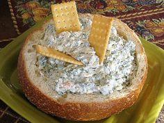 Healthy Spinach Dip in a Bread Bowl