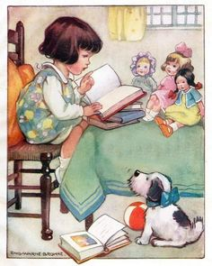 Vintage Childrens Illustration, Girl reading to her toys, childrens book picture, Digital Pri Toys Drawing, Childhood Stories, Children's Book Illustration, Illustration Children, Childrens Books, Book Art, Digital Prints, Poster Prints, Art Print