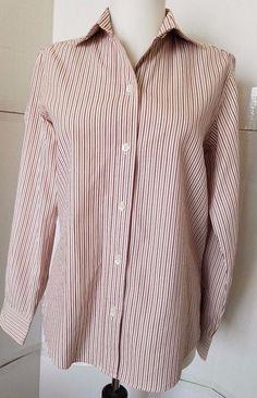 FACONNABLE Womens sz S Classic button down shirt cotton striped Maroon #Faconnable #ButtonDownShirt #Casual