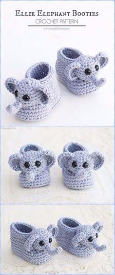 Crochet Elephant Baby Bootie Free Pattern - Crochet Elephant Free Pattern