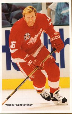 "Vladimir Nikolaevich Konstantinov (born March 19, 1967, Murmansk, Russia) is a Russian-American retired professional ice hockey player who played his entire National Hockey League (NHL) career with the Detroit Red Wings. Previously, he had played for Soviet club CSKA Moscow. His career was ended in a tragic limousine accident just six days after the Red Wings 1997 Stanley Cup victory. He was also known as ""Vladdie"", ""Vlad The Impaler"" and ""Vladinator""(for his vicious hits)."