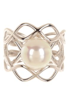 Sterling Silver 11mm Pearl Twist Ring