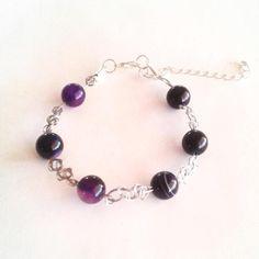 Silver Purple Agate Wire Bracelet