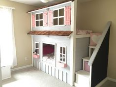 Our sweet little girls new playhouse bunkbed. Our sweet little girls new playhouse bunkbed. Perfect in their pink & grey bedroom. Pink Gray Bedroom, Feminine Bedroom, Dream Bedroom, Girls Bedroom, Playhouse Bed, Girls Playhouse, White Painted Furniture, Kid Beds, Toddler Bunk Beds