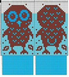 No instructions for mittens, just graphed owl chart to add to your own mitten pattern. Owl Knitting Pattern, Knitted Mittens Pattern, Knitting Charts, Knitted Gloves, Knitting Designs, Knitting Stitches, Knitting Yarn, Baby Knitting, Owls