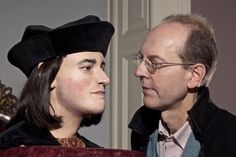 The world's only facial reconstruction of Richard III was recently unveiled after 528 years after his remains were found in a car park in Leicester. Here, he is face to face with his 17th generation nephew , Michael Ibsen.