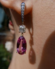 Pink spinel and old cut diamond in IVY gold earrings. #ivynewyork www.ivynewyork.com