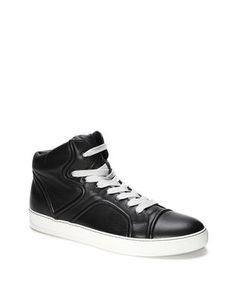LANVIN MID-TOP SNEAKER WITH NAPPA LAMBSKIN PIPING