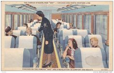 "Streamliner ""400"" Train Interior, Chicago & Northwester Line , 30-40s"