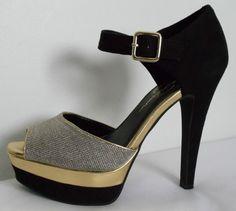 JESSICA SIMPSON Black & Gold Heels Size 7.5 #JessicaSimpson #Strappy