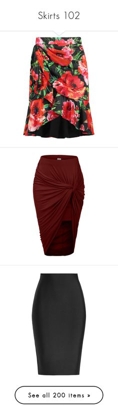 """""""Skirts 102"""" by singlemom ❤ liked on Polyvore featuring skirts, mini skirts, red, ruffle mini skirt, short floral skirt, red skirt, floral printed skirt, bottoms, saias and red maxi skirt"""