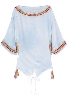 Emamó|Denim-print embellished silk kaftan|NET-A-PORTER.COM